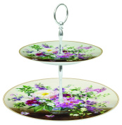 Easy Life Two Tier Porcelain Cake Stand, Multi-Colour, 27 x 27 x 3.5 cm