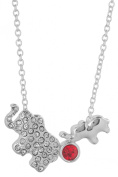 Mother & Baby Elephant Crystal Stone 43cm Necklace in a by Jewellery Nexus