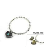 A Prayer for my Teacher in a Blue Heart Box Stretch Inspirational Bracelet by Jewellery Nexus