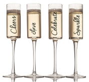 LIVIVO ® Set of 4 Champagne Flute Glasses with Gold Decal - Stylish and Elegant Effect Stem Wine Glass Gift Set in Box – Sparkle Love Cheers Celebrate Text Script - Friends Family Party Wedding
