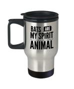Bat Travel Mug - Bats Are My Spirit Animal - Funny Sarcasm Gift - 410ml Stainless Steel Coffee Cup