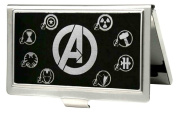 """Buckle-Down BCH-SM-AVO Business Card Holder - SMALL - Avengers """"A""""/Superhero Logos Reverse Brushed"""