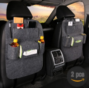 CN store 2 Pack- Back Seat Car Organiser Travel Storage for Kids with Tablet Holder With Kick Mat and Seat Cover