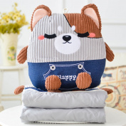 WYQLZ Cartoon Home Office Sofa Pillow Quilt Dual-use Pure Cotton Collapsible Nap Quilt