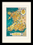 """National Railway Museum """"Wales Vintage Map"""" Mounted and Framed Print, Multi-Colour, 30 x 40 cm"""