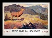 "National Railway Museum ""Scotland for Holidays"" Framed Print, Multi-Colour, 30 x 40 cm"