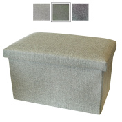 Large Storage Box with Lid - Foot Stool / Foot Pouffe with Storage - Fabric Storage Boxes - Handy Box by Luxelu - Oblong - Olive Green