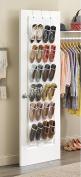 Over the Door Shoe Organiser, Everesta Large Sturdy Shoe Rack with 24 Pocket Shoe Storage Solution and 3 Metal Over the Door Hooks
