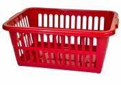 Cherry Red Rectangular 40Lt Plastic Washing Laundry Linen Storage Basket