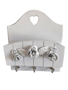 Letter Rack Wall Mounted with Key Holder in French White Vintage Shabby Style ideal mail organiser