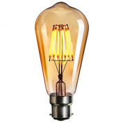 LED Bayonet Edison Bulb, Elfeland Vintage Style Energy-Saving Bulbs - Amber Glass Shell - B22 Bayonet Cap - 6W LED Filament Equivalent 60W Incandescent - Dimmable Warm White Model-ST64