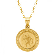 Simply Gold St. Christopher Medallion Pendant Necklace in 10kt Gold