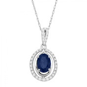 1 ct Natural Sapphire & 1/10 ct Diamond Oval Pendant Necklace in 10kt White Gold