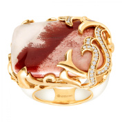 Cristina Sabatini Natural Lace Agate & Vine Ring in 14kt Gold-Plated Sterling Silver