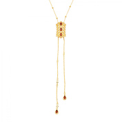 Cristina Sabatini Natural Rhodochrosite & White Topaz Lumiere Necklace in 18kt Gold-Plated Sterling Silver