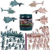 232 Pcs Army Toy Soldiers Military World War 2 WW II Parties Combat Toys for Kids Cjristmas Special Forces with a Map, Tanks, Planes, Flags, Soldier Figures, Fences & Accessories F-127