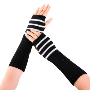 Winter Gloves , Janly® Womans Knitted Fingerless Long Gloves with Stripe Grils Teens Wrist Arm Warmer Gloves