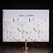 VStoy 2016 Newest White Pocket Laser Cut Flower Wedding Invitations Card Engagement Party Birthday Bridal Shower Invites