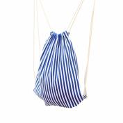 Women Stripe Drawstring Travel Bag Fcostume Beam Port Backpack Shopping Bag