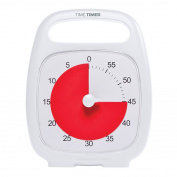 """Time Timer PLUS 60 Minute Visual Analogue Timer; Optional Alert (Volume-Control Dial); Silent Operation (No Ticking); 5.5"""" wide x 7"""" tall; Time Management Tool; White"""