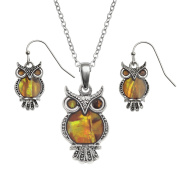 Kiara Jewellery Owl Boxed Set of Pendant Inlaid With Natural Orange Paua Abalone Shell on 46cm Trace Chain Together With Matching Hypoallergenic Rhodium plated Earrings.