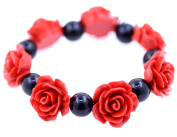 Lizzyoftheflowers - Red Lacquer Rose and black bead stretch bracelet