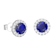Eternity 1ct Blue and White Sapphire Halo Platinum plated Silver Stud Earrings