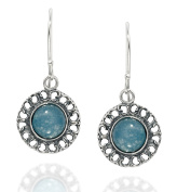 Graceful Women's Jewellery Round 925 Sterling Silver Blue Quartzite Earrings with Filigree Hearts