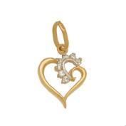 Pendant Necklace Pendant, Heart with Zirconia 585 14-Carat Gold, Gold Pendant