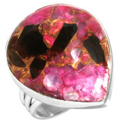 Natural Pink Copper Calcite Gemstone Ring Solid 925 Sterling Silver Modern Jewellery Size O