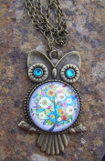Owl with Glass bead Pendant on Bronze colour 46cm Necklace Handmade Arts and Craft