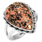 Solid 925 Sterling Silver Modern Jewellery Natural Fireworks Obsidian Gemstone Ring Size S