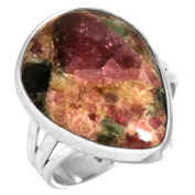 Natural Multi Tourmaline Fusion Gemstone Women Jewellery Solid 925 Sterling Silver Ring Size M
