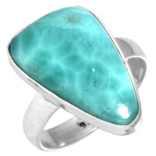 Natural Larimar - Dominican Republic Gemstone Unique Jewellery Solid 925 Sterling Silver Ring Size L