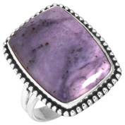Natural Opalized Fluorite Gemstone Designer Jewellery Solid 925 Sterling Silver Ring Size Q