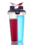 Dual Fuel Protein Gym Shaker Bottle Twin Compartments 700ml