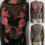 TIFIY Women Fashion O-Neck Appliques Beach Lace Appliques Crochet Bikini Long Sleeves Tops Shirt Blouse