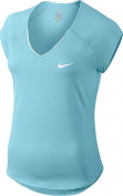 Nike W NKCT Top Pure Tennis T-Shirt for Woman, Blue (Still Blue / White), XS