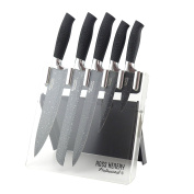 Ross Henery Professional 5 Piece Kitchen Knife set with Black Splash Effect Blades in Clear Foldable Acrylic Block / Stand