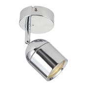 Modern Single 1 Light Polished Silver Chrome Bathroom Wall Spotlight Fitting - IP44 Rated