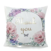 Decdeal Cushion Covers Square Throw Pillowcase Printed Cotton Flower Pillowslip for Bed Home Decorative
