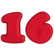 Selecto Bake - 16th Birthday Cake Large Numbers Silicone Mould Non-Stick 25.5 X 19.5 X 5.6cm