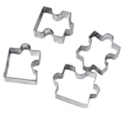 Smile YKK 4PCS Stainless Steel Cutter Cake Biscuit Tools Puzzle Mould Silver
