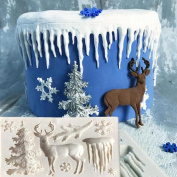 timeracing Christmas Tree Reindeer Snowflake 3D Silicone Cake Fondant Mould DIY Baking Mould