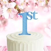 Glitter card standing cake topper decoration - Blue 1st Birthday