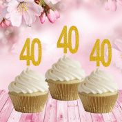 10 x Glitter card standing cupcake cake toppers decoration - Gold 40th Birthday