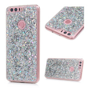 Huawei Honour 8 Case MAXFE.CO Hybrid 2 in 1 Design TPU + Acrylic Case Cover Ultra-Protective Glitter Powder Slim-Fit for Huawei Honour 8 Protective Soft Flexible Bumper Shell - Silver