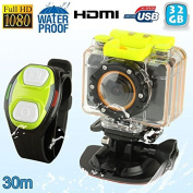 32GB HD Mini Sports Camera Housing Bracelet Waterproof 30 M Remote Control