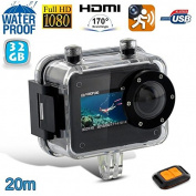 Camera Diving Camera Sport Full HD 1080P 20 M Waterproof Remote Control 32GB
