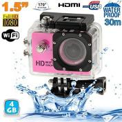 Pink Camera Diving Housing 12MP HD 1080P WiFi Sports Camera 4 GB